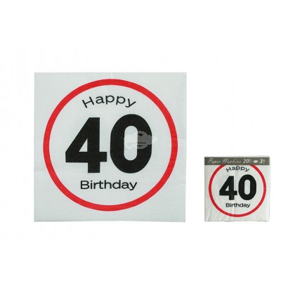 "Servietten ""Happy Birthday 40"""