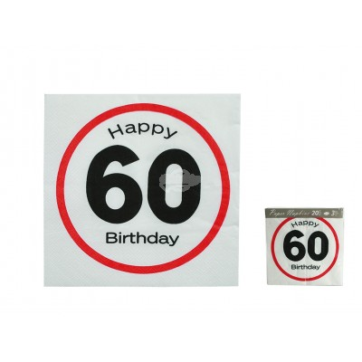 "Servietten ""Happy Birthday 60"""