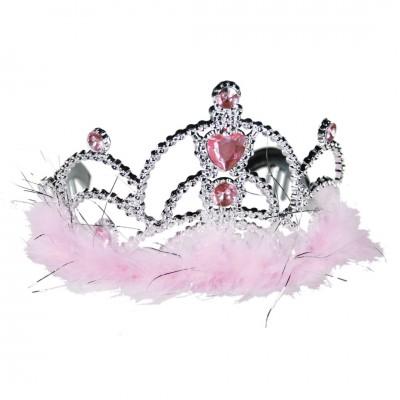 Prinzessinnen Krone mit rosafarbenen Dekosteinen und Plüsch