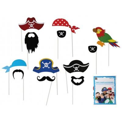 """Foto Booth Kids-Fotoaccessoires """"Kindergeburtstag Pirat"""" auf Stick - 12er Set"""