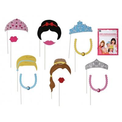 """Foto Booth Kids-Fotoaccessoires Zeichentrick """"Kindergeburtstag Prinzessin"""" auf Stick - 12er Set"""