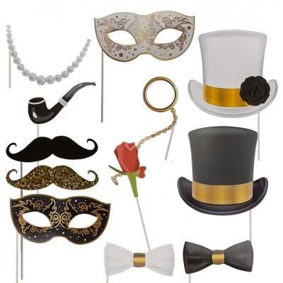 12er Set Party-Foto-Verkleidung Glamour auf Stick