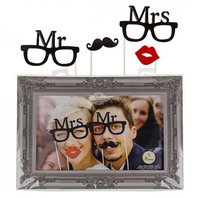 ''Mr. & Mrs.'' Party-Foto-Verkleidung auf Stick mit Rahmen