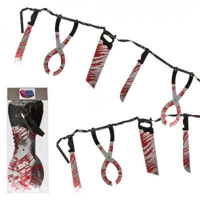 """Halloween Papier-Girlande """"Blutiges Werkzeug"""""""