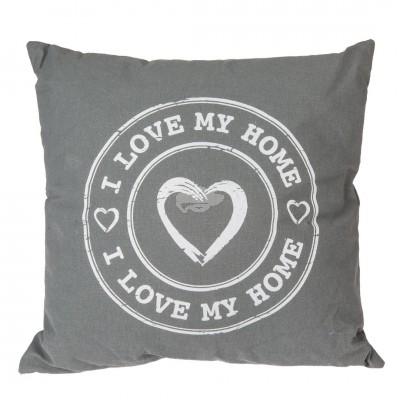 "Kissen mit Slogan ""I Love my Home"" grau"