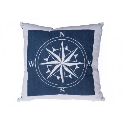 Maritimes Kissen mit Kompass Dekor