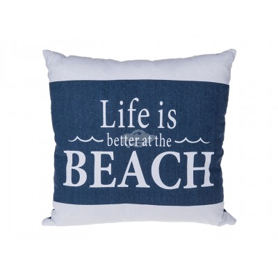 "Maritimes Kissen mit Slogan ""Life is better at the Beach"""