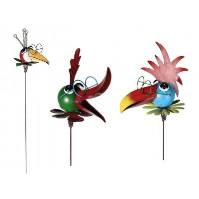 """Gartenstecker """"bunter Vogel"""" - auf Spiralfeder – versch. Farben"""