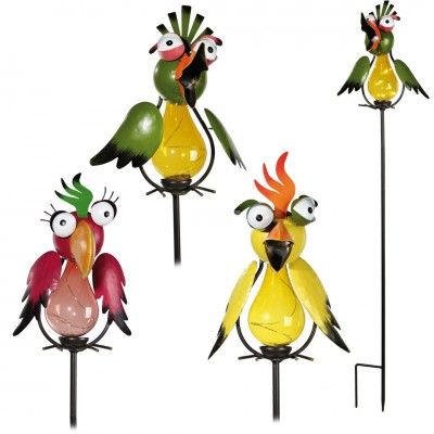 Gartenstecker Vogel - inkl. Solarzelle und LED – versch. Farben