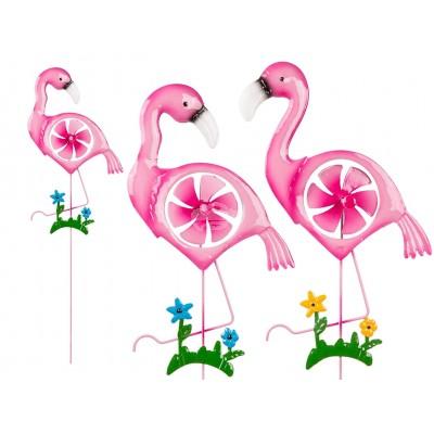 """Gartenstecker """"Flamingo"""" mit Windrad – versch. Farben"""