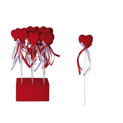 """Stecker """"Rotes Herz mit Samtbezug"""" - mit rot – weißem Schleifenband"""