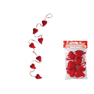 Rote Girlande ''Herz mit Glitter''