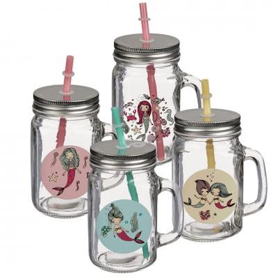 Trinkglas ''Meerjungfrau'' mit Henkel, Schraubverschluss undTrinkhalm