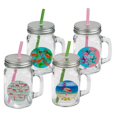 """Einmachglas mit Henkel """"Flamingos"""" - versch. Designs"""