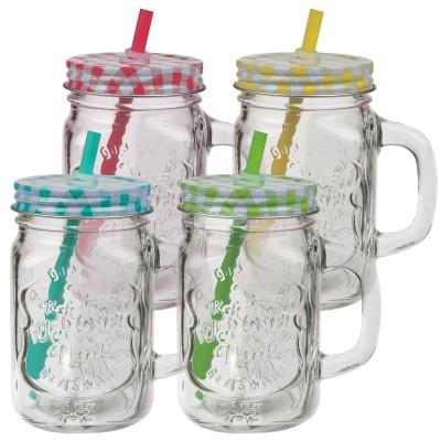 Trinkglas, Einmachglas mit Henkel, Schraubverschluss & Trinkhalm - versch. Farben