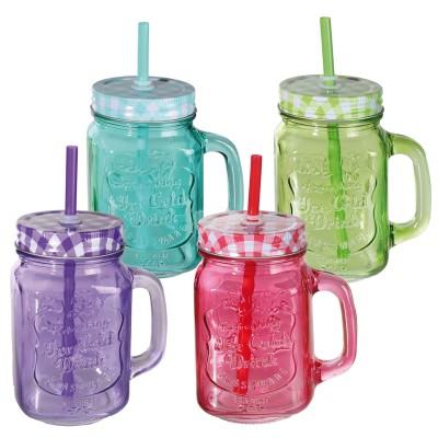 Trinkglas - buntes Einmachglas mit Schraubverschluss und Trinkhalm - versch. Farben