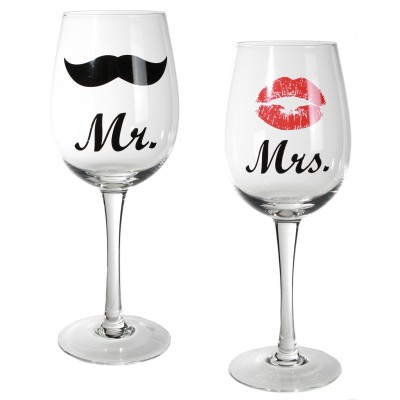 "Weinglas ""Mr. & Mrs."" - 2er Set"