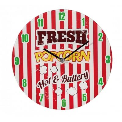 "Wanduhr ""Fresh Popcorn"" Kino Jugendlich Glas Partyraum"