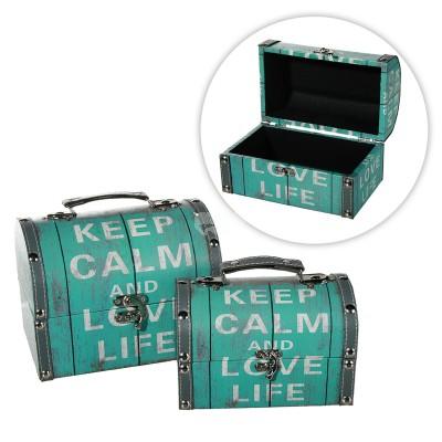 """Kiste -Schatzkiste Aufbewahrungsbox """"Keep Calm and love life"""" 2er Set"""