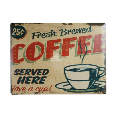 "Blechschild Nostalgie ""Fresh brewed coffee"""