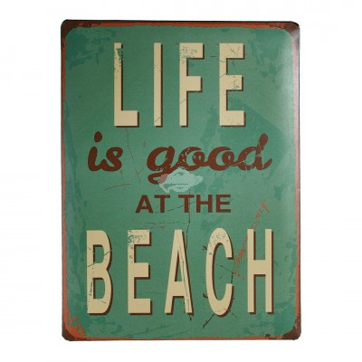 "Blechschild Nostalgie ""Life at beach"""