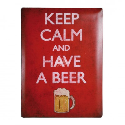 "Blechschild Nostalgie ""Keep calm and have a beer"""