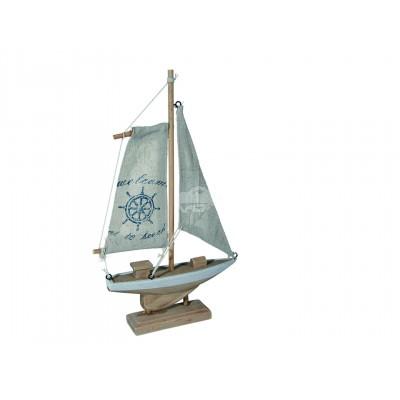 Segelschiff - mit naturfarbenem Segel und Aufdruck