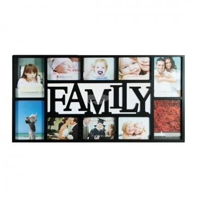 """Bilderrahmen """"Family"""" für 10 Fotos in Schwarz"""