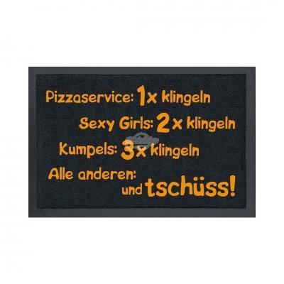 Fußmatte - Pizzaservice: 1 x klingeln