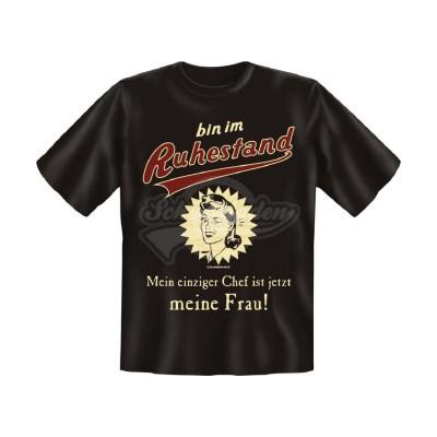 """T-Shirt """"Ruhestand - Mein Chef ist meine Frau"""" - Größe XL"""