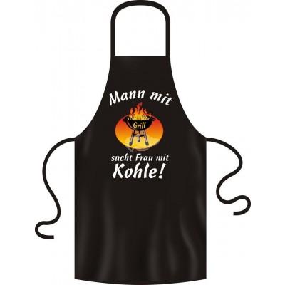 """Grillschürze Schürze """"Mann mit Grill... sucht Frau mit Kohle"""""""