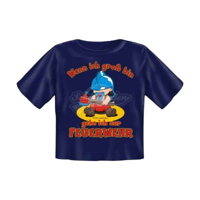 """Babyshirt Kinder T-Shirt """"Gehe ich zur Feuerwehr"""" - Größe L (80-86)"""