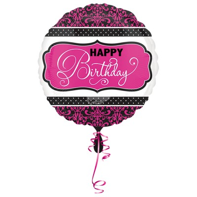 "Folienballon - Pink, Black, White ""Happy Birthday"" 