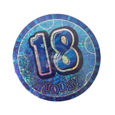 "Button Zahl ""18"" - blau"