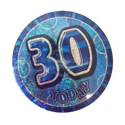 "Button Zahl ""30"" - blau"
