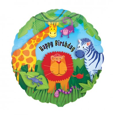 "Folienballon ""Happy Birthday"" Wild Kingdom 