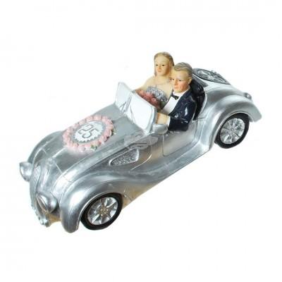Spardose - ''Silber-Brautpaar im Auto''