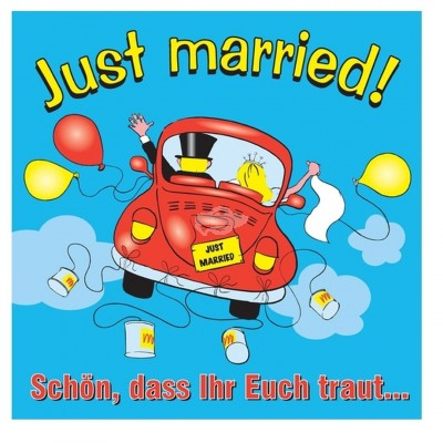 Glückwunsch-Schild Just married