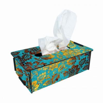 """Werkhaus TissueBox Kosmetikboxspender, """"blau/gold Blüten"""" (pp9903)"""